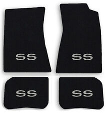NEW! 1968-1972 Chevelle Floor Mats Black Carpet Embroidered SS logo in Silver A4