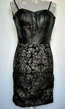 Lustre Sexy Dress UK 8 Black & Gold Skirt Leather Bustier Knee Length Clubwear