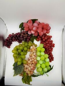 Lot of 6 Vintage Rubber Fruit Faux Artificial Clusters Grapes Small to Large