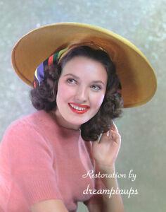 LINDA DARNELL 1940 Oversized 11x14 Color Portrait COLORFUL HAT