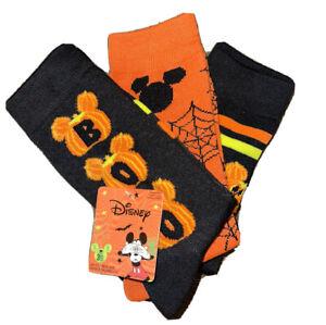 New Disney Ladies 3 Pair HALLOWEEN Socks MICKEY MOUSE PUMPKINS Says 'BOO'