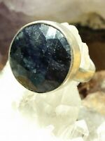 Natural Earth-Mined Blueberry Sapphire Ring 925 Sterling Silver Size 6