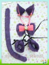 Cute Party Cosplay Costume Anime Cat Ears Hair clip Tail Wristband Bow Purple