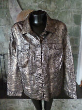 Jones NY Womens Jacket Gold Bronze Metallic Animal Print on Black 3X