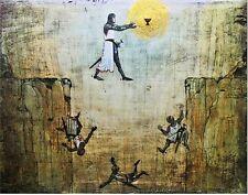 Indiana Jones the Last Crusade Grail Knight Leap of Faith CANVAS Painting BIG !!