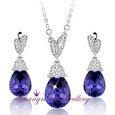 18K White GOLD GF PURPLE Teardrop NECKLACE SET with SWAROVSKI CRYSTAL TE609