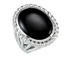 Sterling Silver Onyx Cabochon 10.89 Carats Ring