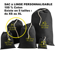 SAC à LINGE NOIR a personnaliser crèche vetements enfants Taille M Petit modèle