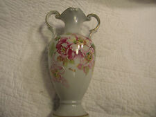 """VINTAGE HAND PAINTED SIGNED VASE, GERMANY, 8"""" TALL W/ BILATERAL HANDLES,PINK"""