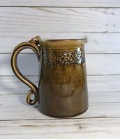 Decorative Studio Art Pottery Brown Mug/Tankard Signed w/Applied Decoration