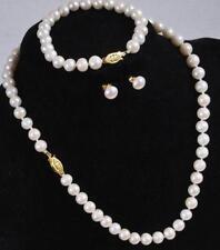 echte 7-8mm weiße Süßwasser Perlenkette Armband & Ohrringe