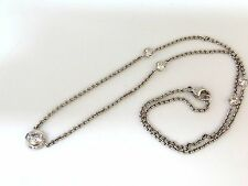 █$12000 1.50ct NATURAL FLUSH MOUNT (5) DIAMOND BY YARD NECKLACE 18KT G/VS 19inch