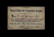 STEAMBOAT PASS 1865 Norwich & New York Transportation Co - Michigan Railroad