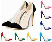 New Women Transparent Pointed Toe Stilettos Pump High Heels Clear Clubwear Shoes