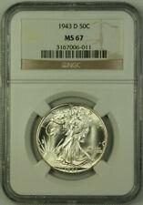 1943-D Walking Liberty Half Dollar 50c Silver Coin NGC MS-67 JAB