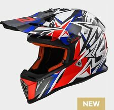 CASCO HELMET CROSS MX437 FAST STRONG WHITE RED BLUE LS2 SIZE XL
