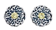 925 Sterling Silver Round Celtic Knot Stud Earring with November Birthstone