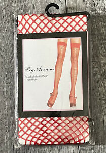 Leg Avenue Spandex Industrial Net Thigh Highs Red One Size 90-160lbs Style 9036