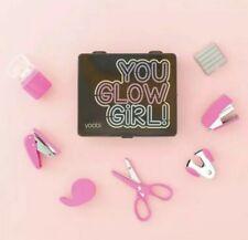 Yoobi YOU GLOW GIRL Mini School Supply Kit travel office set stapler scissor