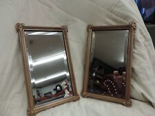 "Two Vintage Homco 11 3/4"" Rectangle Accent Mirrors Beveled Fancy Wood Frame"