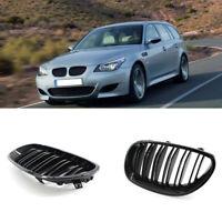 2pcs 5 Series 03-10 Front Kidney Grille Grill For BMW E60 E61 Black Dual Slat KK