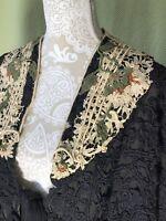 ⭐️Victorian BESPOKE Antique Mantle Capelet Black SILK Crochet ROUFF Paris France