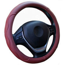 38cm Burgundy Dynamic Fiber PU Leather Embossed Car Steering Wheel Cover Durable