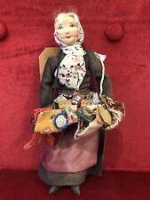 Vintage 1940's Handmade Cloth Peddler Doll WPA Era