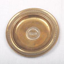 Vintage Brass Coin Tip Tray Advertising AVIN Logo Motor Oil Company Greece