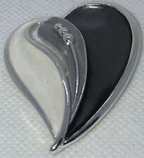 Hearts Brooch Magnetic Brooch Silver Tone Silver Grey Metallic Enamel Beads NEW