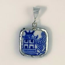 Repurposed Broken China Blue Willow Pendant Vintage Handmade