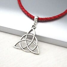 Silver Alloy Celtic Knot Symbol Pendant Braided Red Leather Cord Ethnic Necklace