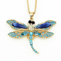 Betsey Johnson Crystal Rhinestone Dragonfly Pendant Chain Animal Necklace Gift