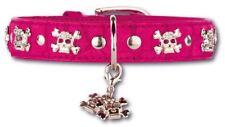 Doxtasy huesos De Cuero Arte Rosa Cráneo N collar de perro de 50CM X 3CM mediano/grande