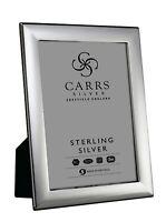 "CARRS - Sterling Silver Photo Frame Berkeley Design Wood Back - 7"" x 5"""