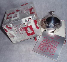 MIB 1972 Wallace #2 Limited Edition Silver Plated Sleigh Bell Christmas Ornament