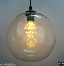 Modern Vintage Pendant Ceiling Light Glass Globe Lampshade Fitting Cafe 4 Color Clear Without Bulb