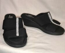 "CUSHION WALK 9 Avon Slip On Memory Foam Bling Slides SANDALS Shoes 2"" Wedge Heel"