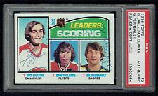 Guy LaFleur, Clarke & Giil Perreault signed autograph 1976 Topps Hockey PSA Slab
