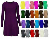 Womens Ladies Plain Jersey Print Long Sleeve Party Flared Swing Skater Dress8-26