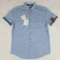 Craft + Flow Light Blue Diamond Polka Dot Men's Button Up Shirt Size Small