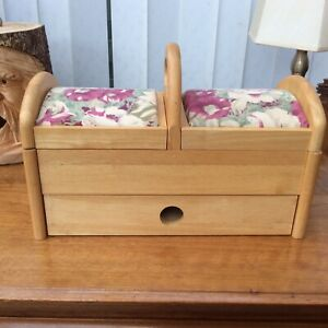 Vintage Wooden Sewing Box Solid Wood 34cm X 17cm X 25cm Tall Good Condition