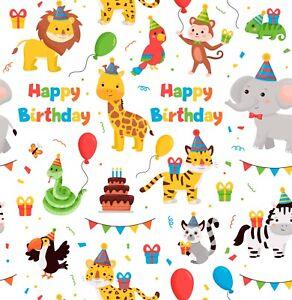 "Artisan Matt Gift Wrap, ""HAPPY BIRTHDAY"", 2 to 5M Length. Cartoon Safari Animals"