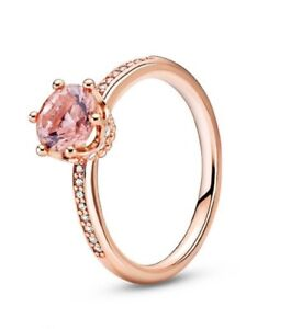 Pandora  Authentic Rose Gold Pink Sparkling Crown Solitaire Ring Charm188289#8-5
