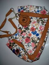 FLOWER DESIGN PURSE HANDBAG WITH BROWN TRIM