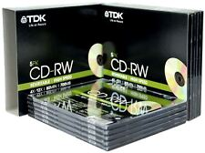TDK T18791 4X-12X Speed 700MB 80min CD-RW - Slim Jewel Case Pack of 10 CDs