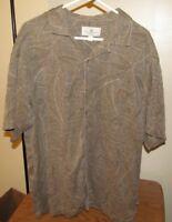 Mens Island Shores Original Island Wear 100% Silk Sz XL Short Sleeve Shirt EUC