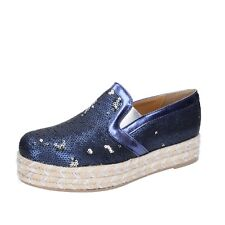scarpe donna OLGA RUBINI 36 EU espadrillas slip on blu pailettes BS110-36