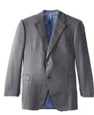 Oxxford Men's Pinstripe Herringbone Sport Jacket Blazer,  Grey Blue, 48R US