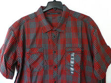 Sean John Mens Size 4XB Red Black & Gray Classic Fit Button Front Shirt New